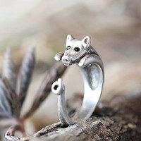 Pig Ring Women's Girl's Retro Burnished Animal Miniature Ring Jewelry Adjustable Free Size Wrap Ring Black Crystal gift idea