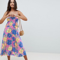 ASOS DESIGN slinky midi sundress with waist ruffle in floral print at asos.com