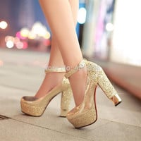 Fashion high-heeled shoes thick heel platform paillette gold silver wedding shoes bridal dress shoes formal shoes