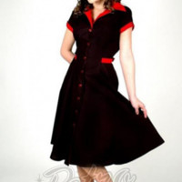Retro Glam - Heart of Haute Black with Red Trim Diner Dress