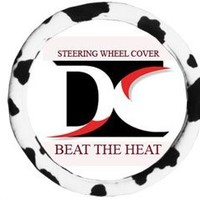 Black and white cow steering wheel cover