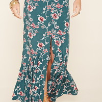 Buttoned Floral Maxi Skirt