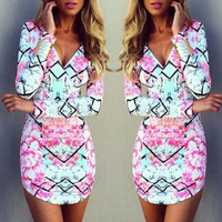 Long Sleeve V-Neck Print Bodycon Dress