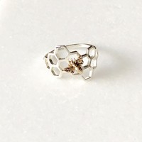 Silver Honeycomb Bee Ring