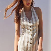 Cooperative Parker Button-Front Halter Romper | Urban Outfitters