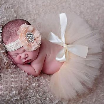 born Baby Infant Costume Outfit Princess Tutu Skirt Matching Headband born Baby Princess Design Photography Props