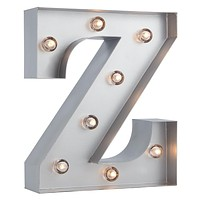 BLOWOUT Silver Marquee Light Letter 'Z' LED Metal Sign (8 Inch, Battery Operated w/ Timer)