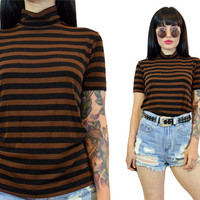 vintage 90s slinky turtleneck shirt 1990s grunge striped MOCK neck tshirt brown + black soft grunge minimalist top blouse classic small