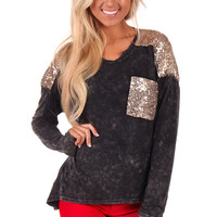 Black Sequin Detail Top with Long Sleeves