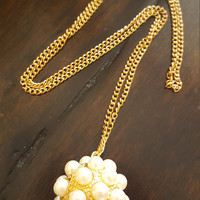 Dainty jewelry Statement necklace Gold plated Pearl ball charm long necklace Statement jewelry