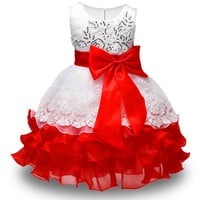 New High quality baby lace princess dress for girl elegant birthday party dress girl dress Baby girl's christmas clothes 2-8yrs