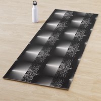 Black and White Vintage Ornament Modern Yoga Mat