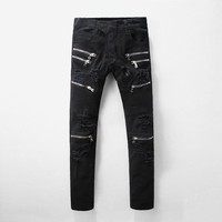 Men's slim black biker jeans Male casual large size patchwork ripped stretch denim pants Skinny long trousers