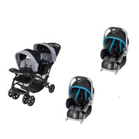 Baby Trent Double Sit N Stand Twin Stroller Travel System with 2 Infant Car Seats, Millennium Blue