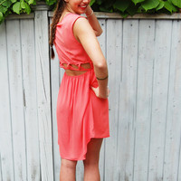 Coral Crush- Coral/Pink Hi-Low Cut Out Back Dress