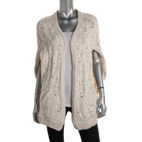 Free People Womens Angora Blend Loose Knit Cardigan Sweater