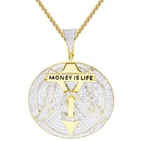 Round Money is Life Rich Car Logo Dollar Pendant Chain