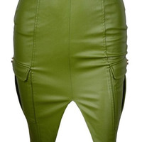 Cargo Pocket Leather Pencil Skirt - Olive Green