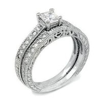 Christmas Gifts 0.75ct Sterling Silver CZ Wedding Engagement Ring Set