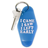 I Came I Saw I Left Early Motel Keychain in Blue