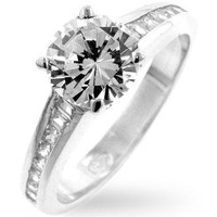 Cubic Zirconia Engagement Ring, size : 09