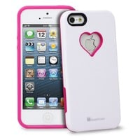 iPhone SE Case, GreatShield RADIANT Series Love Heart Shape Valentines Day Snap On Case Back Cover for Apple iPhone SE / 5S / 5 (Pink & White)