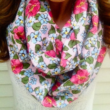 Spring Bloom Floral Infinity Scarf in White, Olive and Pink
