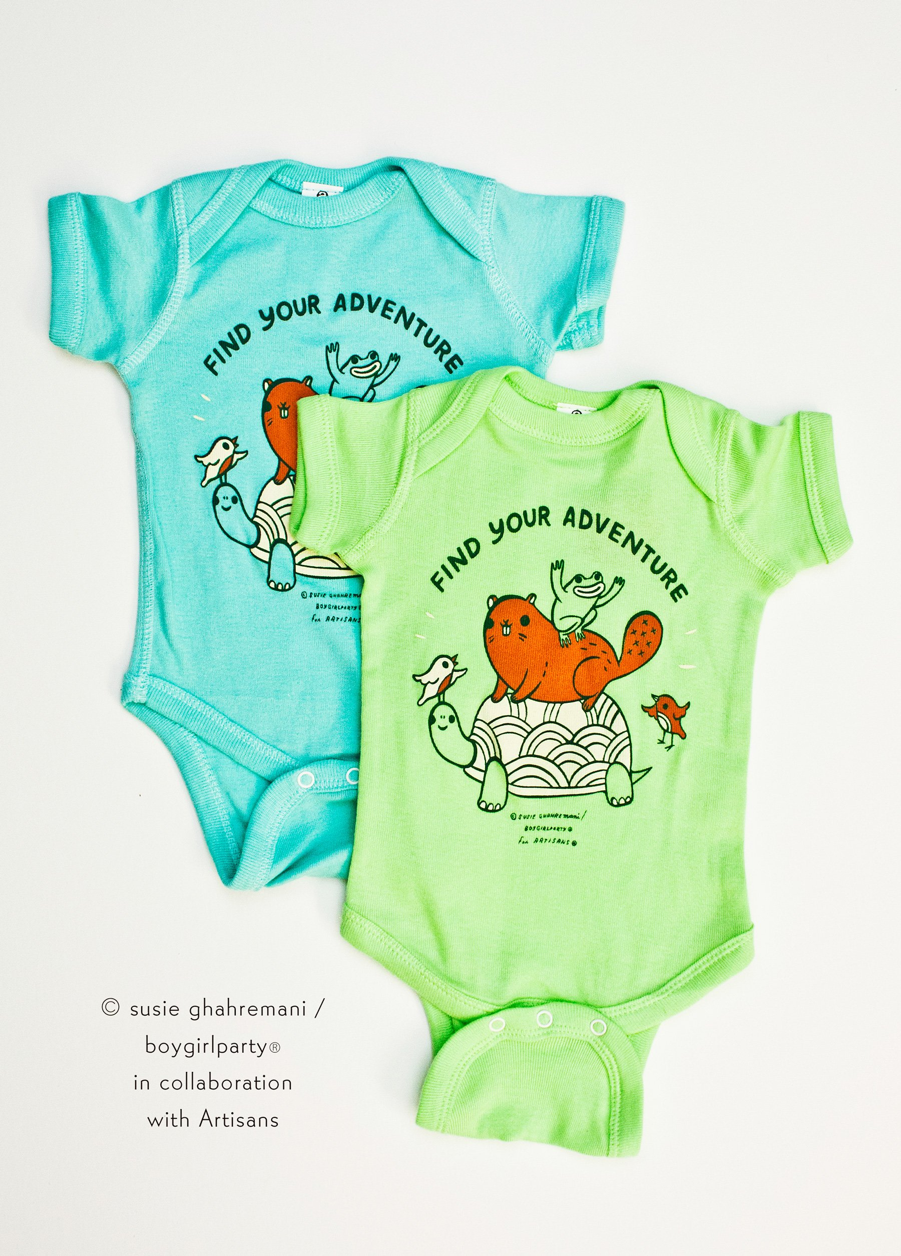 Image of SALE: Find Your Adventure! Animal Baby Onesuit (Green)