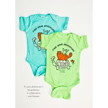 SALE: Find Your Adventure! Animal Baby Onesuit (Green)