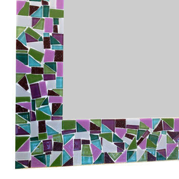 Purple Multicolored Mosaic Wall Mirror