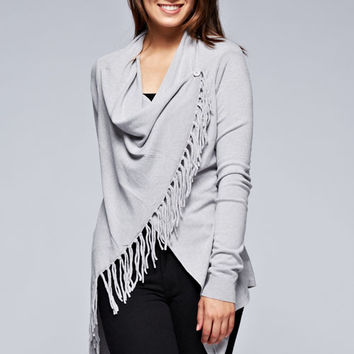 Love Stitch Carys Fringed Shawl Sweater with Button in Light Heather Grey IMP5797-LIGHTHTR