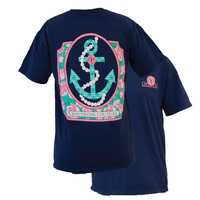 Southern Couture Preppy Pearl Anchor Floral Comfort Colors Navy Girlie Bright T Shirt