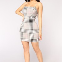 Betty Plaid Dress - Grey