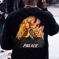 PALACE Round Neck Printing Long-Sleeved Sweater