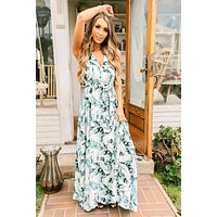 Exotic Escape Palm Leaf Print Maxi (White/Aqua)