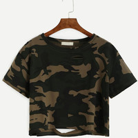 Camo T-shirts For Women 2017 Summer Sexy Crop Top Short Sleeve Rippled Hole Top Female Brand Clothing Casual Tee Shirt Femme