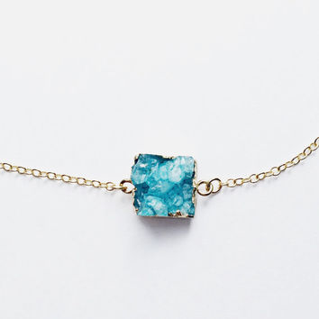 Teal Small Druzy, Teal Druzy Necklace, Square Druzy, Drusy, Agate, Gold Edge, For Her, 18kt Gold Necklace, Multicolor, Dainty