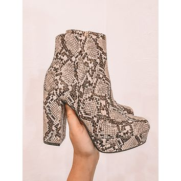 June Platform Booties (Beige Snake)