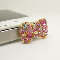 HOT 1PC Bling Crystal Bow Cell Phone Earphone Jack Antidust Plug Charm for iPhone 5c,5s,Samsung S3,S4 Gift for Her Friend Gift