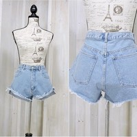 "High waisted denim shorts size 9 / 10  34"" waist / 80s vintage denim cut offs /  frayed jean cut off shorts"
