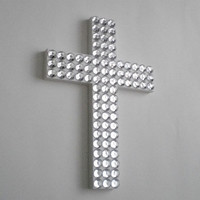 Bling Wall Cross - Handpainted wood cross w/ large clear rhinestones