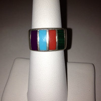 Turquoise Red Coral Ring Navajo Lee Brown Sz 6.5 Sugilite Malachite Sterling Silver 925 Vintage Southwestern Jewelry Birthday Signet Gift