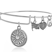 Alex and Ani style daughter pendant charm bracelet,a perfect gift !