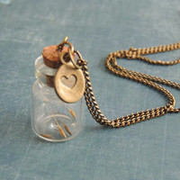 Dandelion glass vial pendant,  antique bronze jewelry, make a wish necklace, glass val jewelry, boho accessories, vintage style jewelry