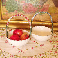 Vintage plastic floral Baskets fruit holders Bowl Set of 2 kitchen home decor small baskets lot
