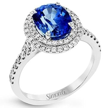 Simon G. Double Halo Oval Blue Sapphire Ring