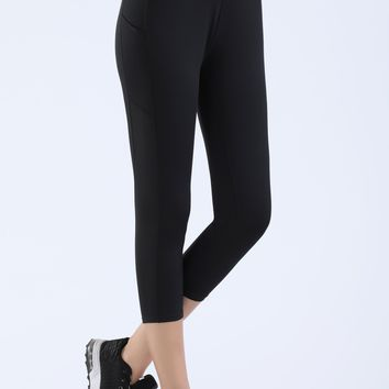 NOOZ High Waisted Opaque Yoga Leggings with Side Pockets for Women - Slim, Capris