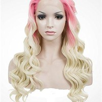 Long Pinkish To Blonde Ombre Wave Synthetic Lace Front Wig
