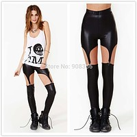 2017 Sexy Punk Rock Garter Buckle Wetlook PU Leather Leggings Spaghetti Strap Pants Trousers Black Gold Silver Jeggings C1239