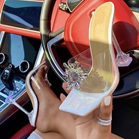 2020 New Women's Rhinestone Sunflower Transparent Square Toe Wine Glass High Heel Slippers Shoes